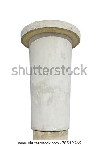 Advertising pillar, weathered aged grunge light grey concrete ad pole, wide angle, isolated empty blank copyspace texture, rustic background