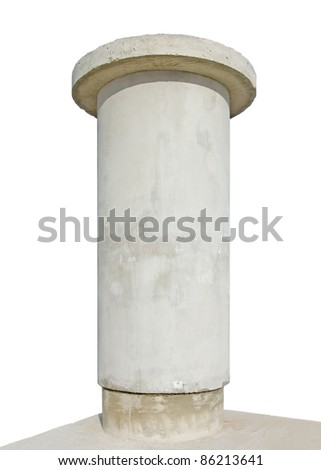 Advertising pillar, weathered aged grunge light grey concrete, isolated empty blank copy space