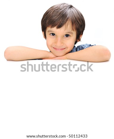 Advertising place for you, empty card, cute kid holding it