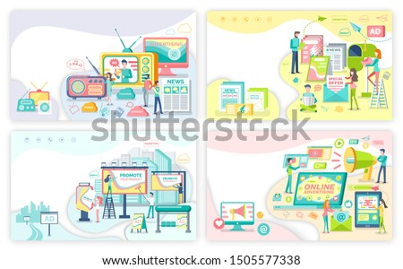 Advertising services, means of advertisement. Media and print adverts, outdoor and online banners with commercial and promotion raster illustrations
