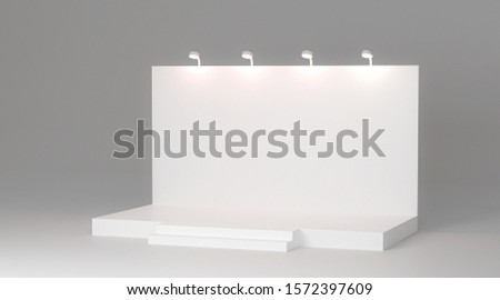 Advertising space on a white background, 3D rendering Trade exhibition stand, Exhibition Stand round. visualization of exhibition equipment, a set of stands with space for text ads.