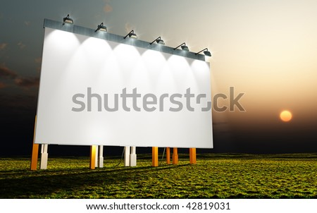 advertising wall by sunset