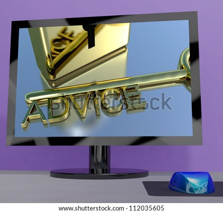 Advice Key On Computer Screen Shows Assistance
