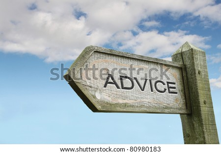 Advice Wooden Sign with Sky Background