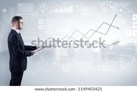 Adviser standing and presenting economical results of a global company #1149403421
