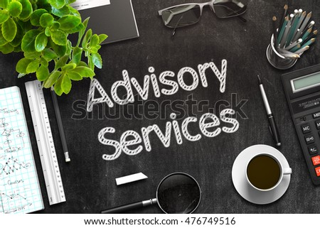 Advisory Services Concept on Black Chalkboard. 3d Rendering. Toned Image.