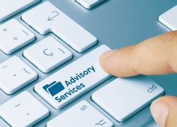 Advisory Services Written on Blue Key of Metallic Keyboard. Finger pressing key.