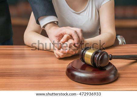 Advocate or lawyer defends accused innocent woman. Legal help and assistance concept.