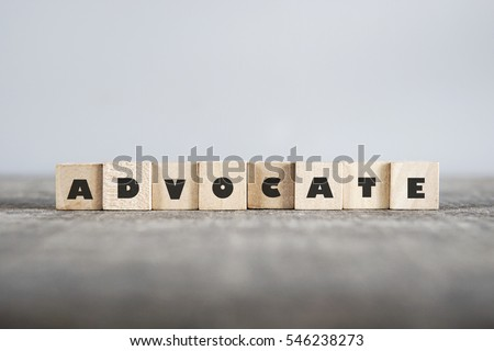 ADVOCATE word made with building blocks