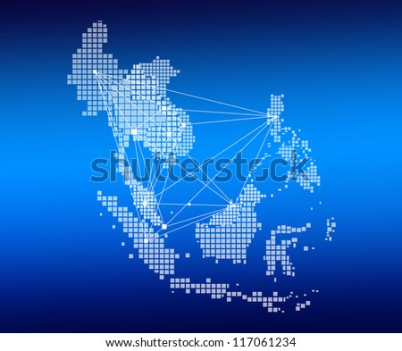 AEC Map and network on blue background