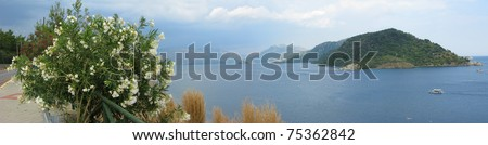 aegean sea landscape view of island and mountains panorama