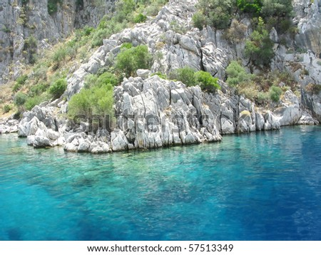 Aegean sea landscape view of water and cliff mountains