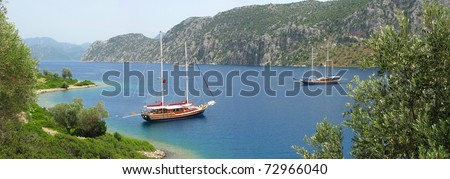 aegean sea landscape view of yachts among mountains panorama