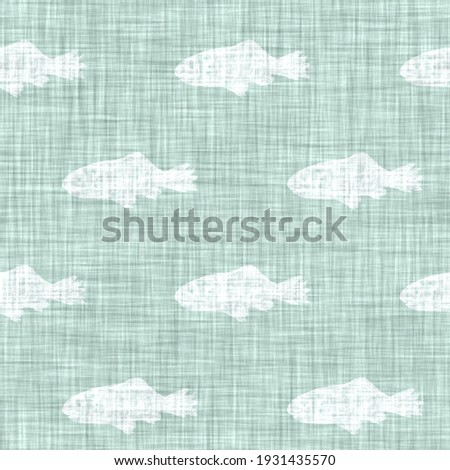 Aegean teal mottled fish linen texture background. Summer coastal living style 2 tone fabric effect. Sea green wash distress grunge material. Decor swimming fishes motif textile seamless pattern  Foto stock ©