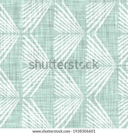 Aegean teal mottled geo patterned linen texture background. Summer coastal living style home decor fabric effect. Sea green wash grunge distressed geometric grid. Decorative textile seamless pattern  Stock fotó ©
