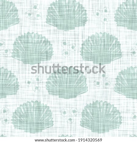 Aegean teal mottled seashell linen texture background. Summer coastal living style 2 tone fabric effect. Sea green wash distressed grunge material. Decorative shell motif textile seamless pattern  Foto stock ©