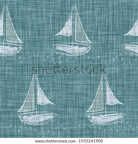 Aegean teal mottled seashell linen texture background. Summer coastal living style 2 tone fabric effect. Sea green wash distressed grunge material. Decorative shell motif textile seamless pattern   ストックフォト ©