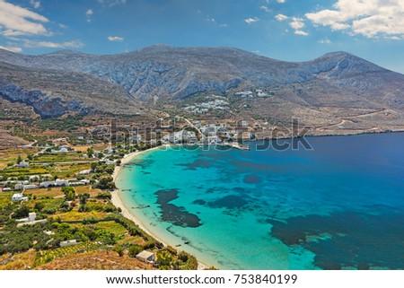 Aegiali beach of Amorgos island in Cyclades, Greece #753840199