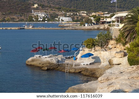 Aegina island at the mediterranean sea in Greece. Agia Marina village.