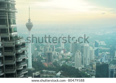 Aeial view of Kuala Lumpur from Petronas Twin Tower at sunset