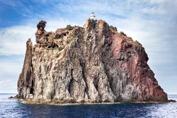 Aeolian island lighthouse, sicily. Italy.