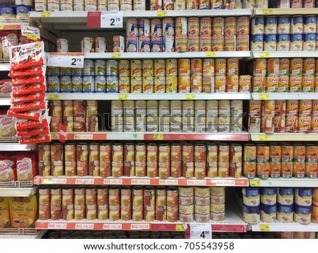 AEON BIG SUPERMARKET, PETALING JAYA, MALAYSIA on 28TH AUG 2017 . Different types of sweetened creamer/milk products in shelves on display neatly for sale at local supermarket in Malaysia #705543958