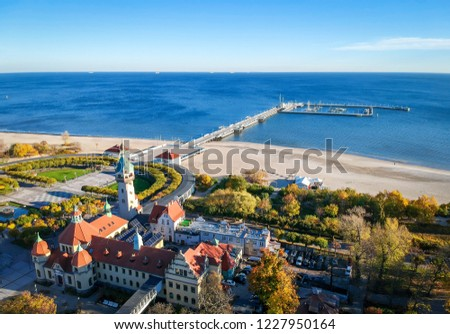 Aerail landscape of Sopot down city
