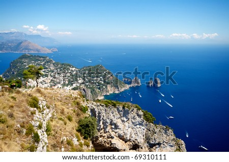 aeral view of capri, beautiful island in italy, naples
