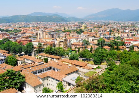 Aereal view of Brescia city from the castle