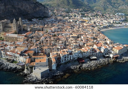 aereal wiew of Cefalu, Palermo, Sicily, Italy