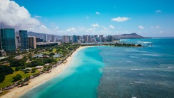 Aerial  Ala Moana Beach Park, Honolulu, Oahu, Hawaii