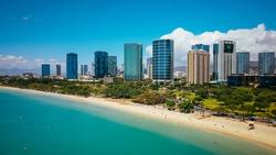 Aerial Ala Moana Beach Park,Honolulu, Oahu, Hawaii