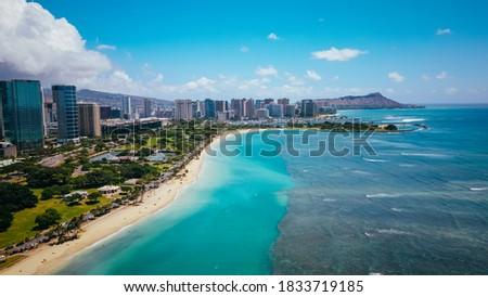 Aerial  Ala Moana Beach Park, Honolulu, Oahu, Hawaii Foto stock ©