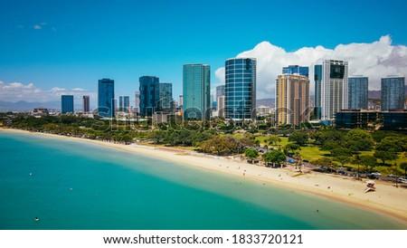 Aerial Ala Moana Beach Park,Honolulu, Oahu, Hawaii Foto stock ©