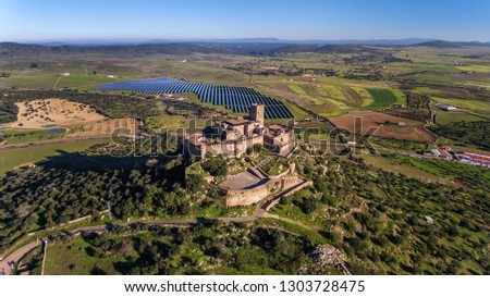 Aerial. Ancient Spanish castle Miraflores, in the town Alconchel, Badajoz.
