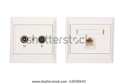 Aerial and network outlet isolated on white background