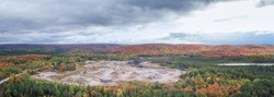 Aerial Autumn Quarry in Northern Ontario Canada