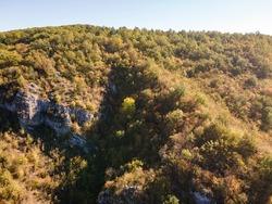 Aerial Autumn view of Nishava river gorge, Balkan Mountains, Bulgaria