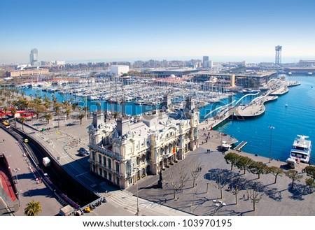 Aerial Barcelona port marina view in Plaza de colon