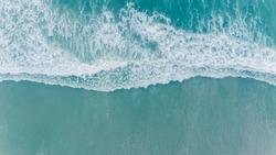 Aerial beach wave on tropical sea