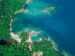 Aerial bird's eye view of phaselis ancient city, Antalya in Turkey.