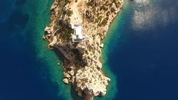 Aerial bird's eye view photo taken by drone of archaeological site of Heraion, cape Melagavi, Loutraki, Perachora, Greece