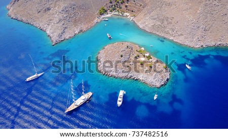 Stock Photo Aerial bird's eye view photo taken by drone of tropical seascape with turquoise and sapphire clear waters