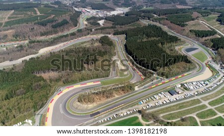 Aerial bird view of Circuit de Spa-Francorchamps is motor racing track located in Stavelot Belgium also referred to as Spa it is the venue of the Formula One Belgian Grand Prix Stock photo ©