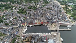 Aerial bird view of marina of Honfleur a commune in the Calvados department in northwestern France it is especially known for its old port characterized by its houses with slate-covered frontages