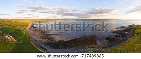 Aerial Birds Eye View Of A Beautiful Irish Sunset Countryside Landscape In County Clare Ireland. Lahinch Beach in the distance along the wild atlantic way. Foto stock ©