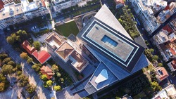 Aerial birds eye view photo taken by drone of new Acropolis museum, Athens historic center, Attica, Greece