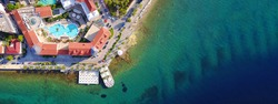 Aerial birds eye view photo taken by drone of