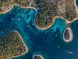 Aerial, birds-eye view to amazing pakleni islands near Hvar Croatia.