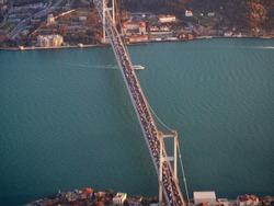 Aerial Bosphorus bridge traffic jam view